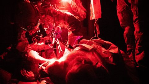 US Army Ranger conducts medical training